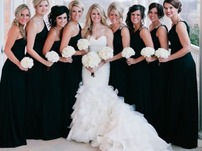 Black Bridesmaid Dresses With One Shoulder