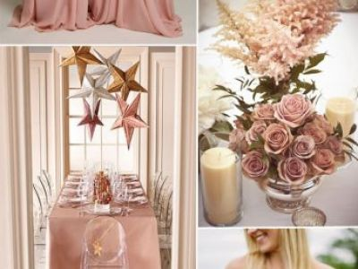Dusty Pink Sorbe Wedding Color Ideas And Single Shoulder Bridesmaid Dresses