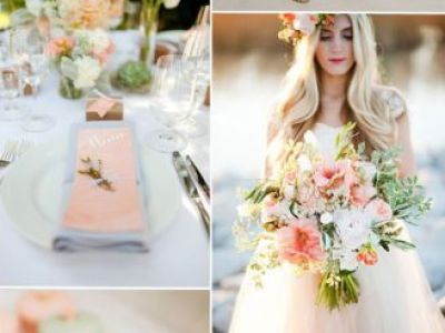 Peach And Mint Wedding Color Inspiration With Short Bridesmaid Dresses