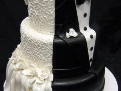 Unique White And Black Wedding Cake Design