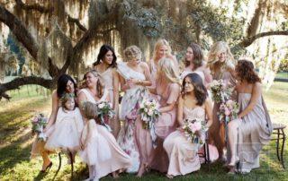 rocking bridesmaids dresses color theme