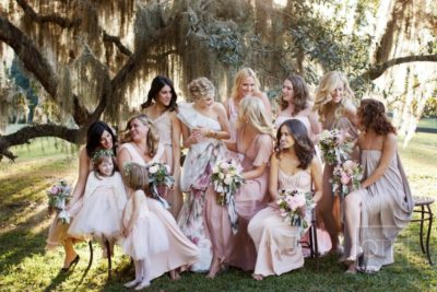 rocking bridesmaids dresses color theme